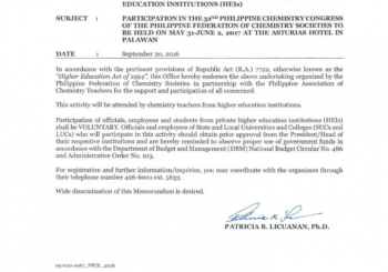 CHED Endorsement for the 32nd Philippine Chemistry Congress